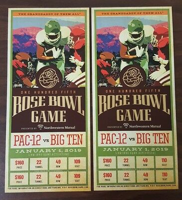 Rose Bowl Game: January 1, 2019: Ohio State vs Washington: 2 Tickets, END ZONE