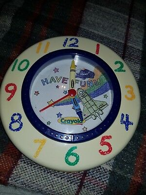 KIDS FUN Vintage Retro Toy Crayola Wall Clock - fully working! Collectable