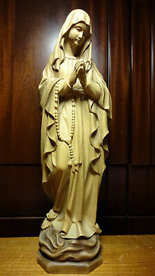 "☩ Vintage 16"" Hand Carved Wood Our Lady Mary Madonna Of Lourdes Statue Figurine☩"