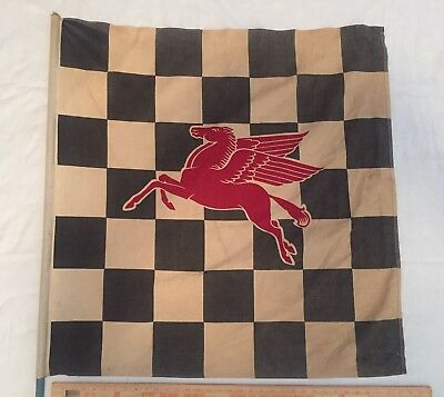 "Vintage Mobil Gas Oil Checkered Racing Flag Pegasus Sign Original 1950s 36""x36"""