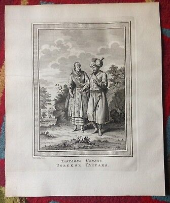 Uzbekistan People 1749 Bellin-Van Schley Antique Engraved View 18Th Century