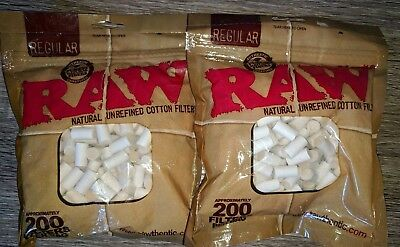 400 RAW FILTERS Unrefined/Unbleached Cotton for RYO Cigarette Papers 8mm x 14mm