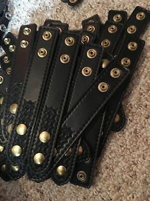 Set Of 4 LEATHER POLICE DUTY BELT KEEPERS New Brass Gold Snaps Basket Weave