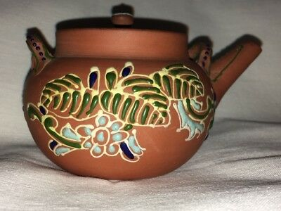Miniature Mexican Pottery Adobe Teapot Vintage