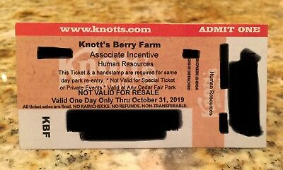 4 - 1 Day Tickets to Knotts Berry Farm California Expire On October 31, 2019