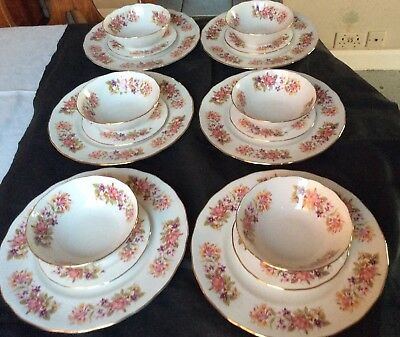 """18 Pieces Colclough """"Wayside"""" Pattern 8581 Dinner Plates Tea Plates Cereal Bowls"""