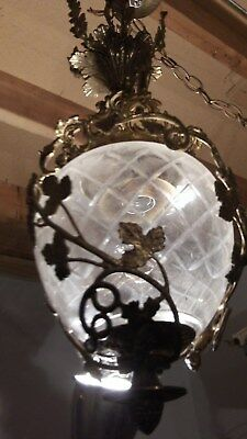 Antique Brass & Cut Crystal Globe Ornate Victorian Hanging Ceiling Lamp Light