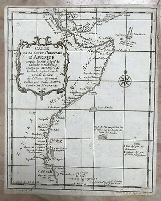 East Africa Gulf Of Aden Dated 1740 Nicolas Bellin Antique Engraved Map