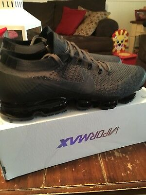New Mens Nike Air Vapormax Flyknit Size 14 Midnight Fog/ Multi Color Black