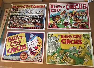 CLYDE BEATTY COLE BROS CIRCUS POSTERS - 4 1960s ORIGINAL - LOT 5