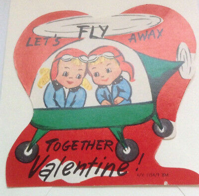 Vintage Valentine Card Unused+env-Lets Fly Away Together