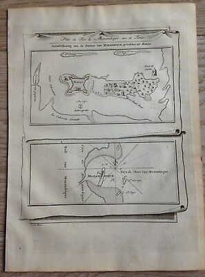 Africa Fort & Bay Of Mozambic 1749 Bellin / Van Schley 2 Antique Engraved Maps