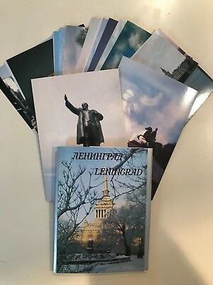 Leningrad Postcard Folder Book Lot 18 Cards - Russia, Lenin, The Cruiser Aurora