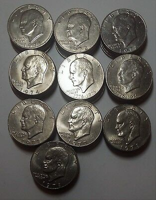 Circulated Lot of 50 Eisenhower Dollars 1971 to 1978, P&D mints (lot RM1499)