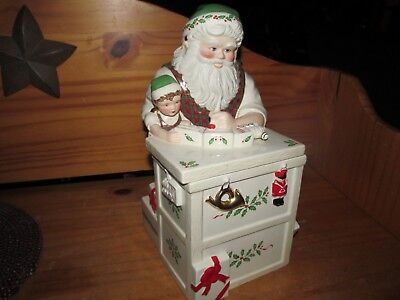 Lenox Holiday Santa Claus Christmas Workbench Cookie Jar