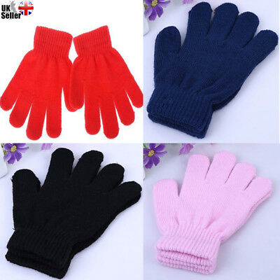 1 Pair Black+Colours Magic Gloves Kids Boys Girls Children Winter Warm Stretch