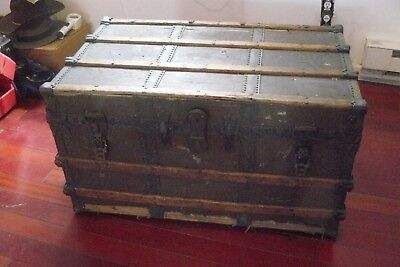 antique wood steamer trunk, made in Boston.