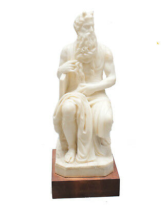 Hand Carved Marble Sculpture of Moses after Michelangelo on Wooden Base, 19th C
