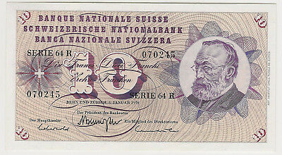 1970 Switzerland 10 Francs ~ Uncirculated ~ Nice Swiss Franks Priced Right!