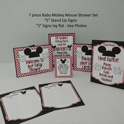 """Disney Baby Mickey Mouse """"5"""" STAND UP Cardstock Shower Set in Red MRP $12"""