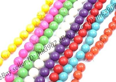 30pcs Round Mixed Colour Turquoise Gemstone Spacer Loose Beads Charm Jewelry 8MM