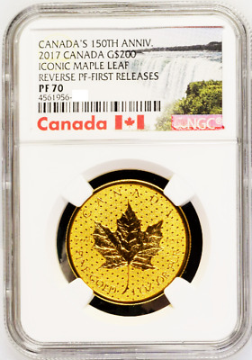 Canada 2017 $200 Gold Coin Iconic Maple Leaf Reverse Proof First Releases NGC 70