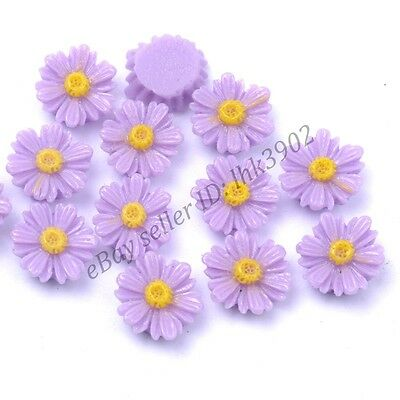 20 Pcs Purple Resin Flower Shape Charms Loose Spacer Beads 12MM