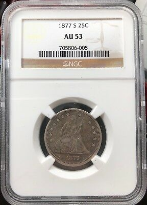 1877-S Seated Liberty Silver 25 Cents  Very Fine
