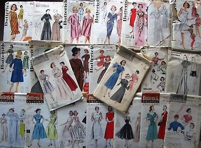 Lot of 23 Vintage Sewing Patterns Butterick Misses Dresses Nightgowns