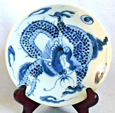 C18Th Chinese Blue And White Dish Decorated With A Dragon