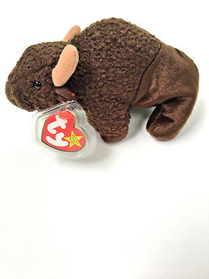 "Ty Original Beanie Babies ""Roam"" Brown Buffalo Bison 1998 September 27th W/ Tag!"