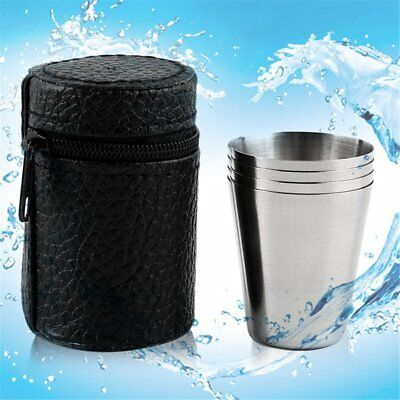 4Pcs Stainless Steel Mini Camping Cup Mug Drinking Coffee Beer Tumbler Outdoor R
