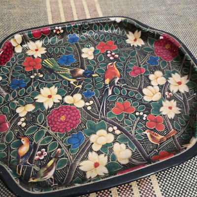 Vintage Metal Tray Tea Trading Corporation of India Birds Plants Flowers Design