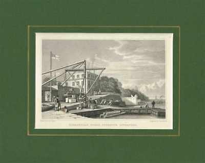 Old Antique Engraving Print of Birkenhead Ferry Lancashire c.1830 Ready to frame