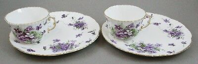 2 Hammersley Bone China England ~VICTORIAN VIOLETS~ Snack Plate & Cup Sets #1
