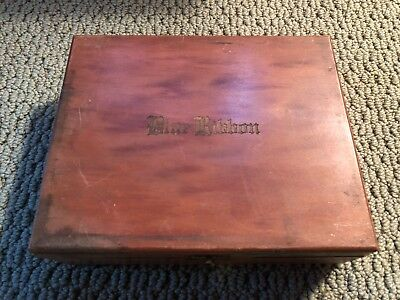 Vintage Wood Cigar Box Blue Ribbon Grande Engraved Top Metal Hinge Inside Label