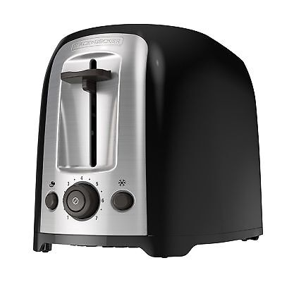 BLACK+DECKER 2-Slice Extra Wide Slot Toaster, Black with Stainless Steel Accent