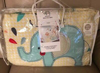 """Next """"Little Zoo"""" Nursery Bed In The Bag (New)"""