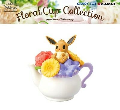 RE-MENT Pokemon Floral Cup Collection Miniature Toy Figure Eevee Eievui Flowers