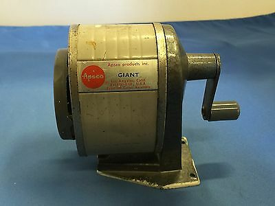 Apsco Giant U.s. Property Vintage Original 6 Point Desk Mount Pencil Sharpener
