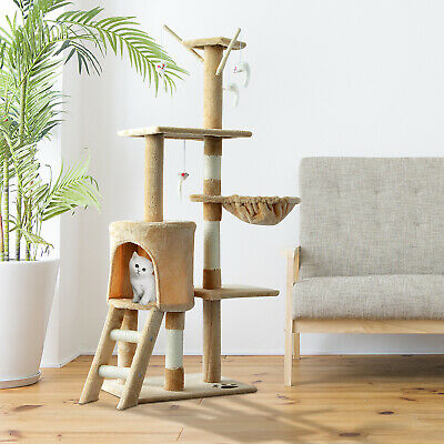 "52"" Multi-Level Cat Tree Kitty Activity Center Scratcher Tower Condo Beige"