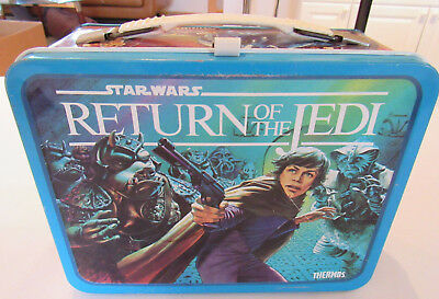 Star Wars Return of the Jedi Blue Metal Lunch Box by Thermos Company 1983