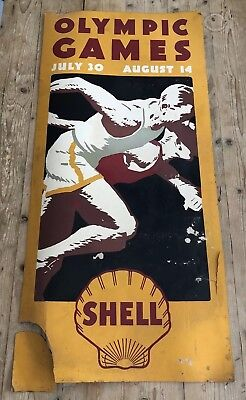 VINTAGE 1932 OLYMPIC GAMES LOS ANGELES LA Ca Advertising Shell Oil Olympics Sign