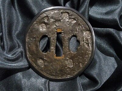 18/19th. BEAUTIFUL BIG TEMBO KATANA TSUBA SINED -  Japanese Samurai Sword Menuki