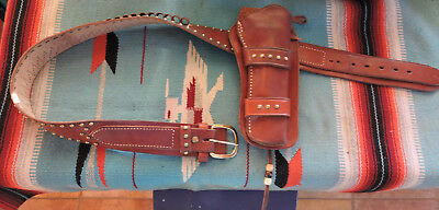 Vintage Western Holster & Belt - Leather - Brass Spots