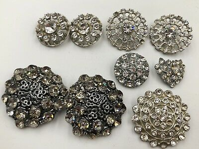 A Lot Of 9 Nine Vintage & Antique All Rhinestone Buttons Large Interesting Uniqu