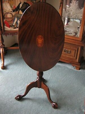 English Inlaid Mahogany Tilt Top Table, claw foot, early 20th c