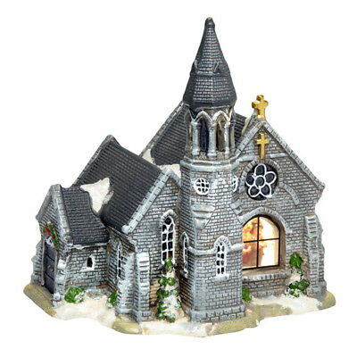 Holiday Christmas Village - Gray Stone Church - Porcelain, Lighted, NEW!