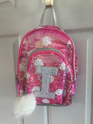 NWT Justice Pink Flip Sequin Initial Mini Backpack!