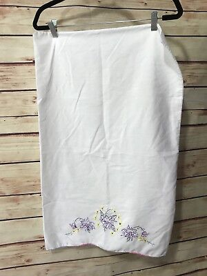 Vintage Hand Embroidered Pillow Case 1Pc White Purple Yellow Floral